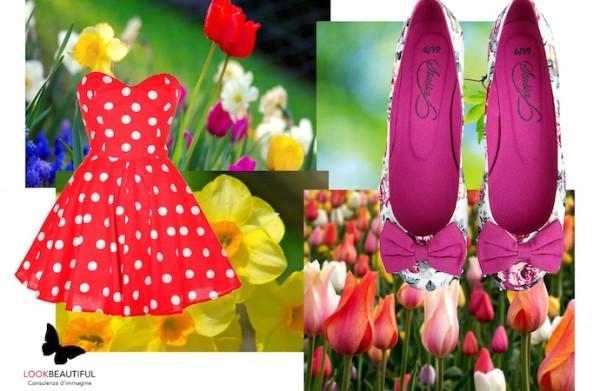 colore-primavera-luce-vivacità-stile-rosso-giallo-viola-fiori-abitino-pois-ballerine